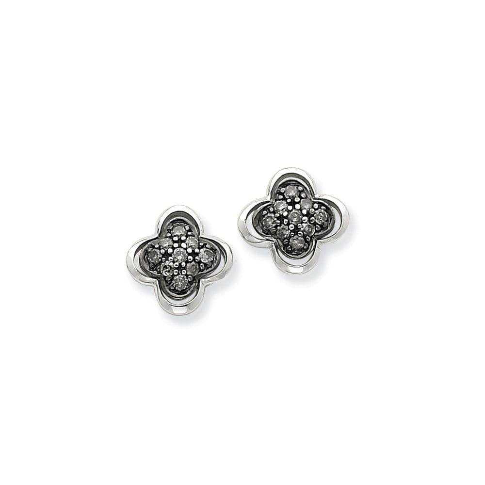 14K White Gold Black Diamond Post Earrings. Carat Wt- 0.25ct (10MM Long x 10MM Wide)