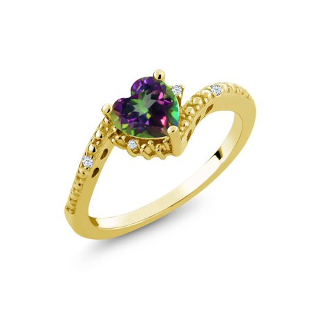 1.00 Ct Heart Shape Green Mystic Topaz 18K Yellow Gold Plated Silver Ring - image 2 de 2