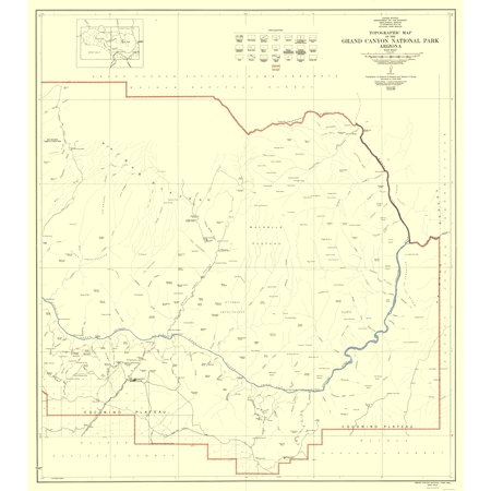 Map Of East Arizona.Topographical Map Grand Canyon East Half Arizona Usgs 1927 23