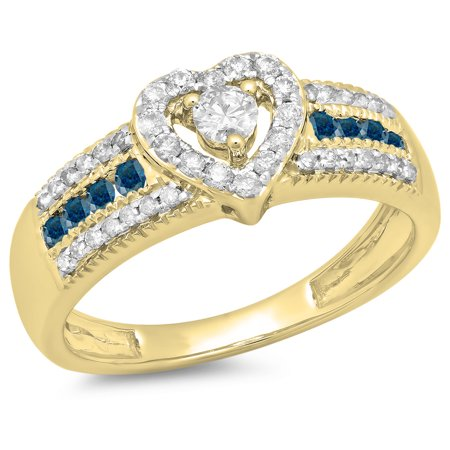 0.55 Carat (ctw) 14K Yellow Gold Round Cut Blue & White Diamond Ladies Bridal Heart Shaped Promise Engagement Ring 1/2 C