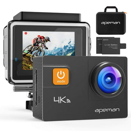 APEMAN Action Camera 4K 20MP WiFi Ultra HD Underwater Waterproof 40M Sports Camcorder with 170° EIS Sony Sensor, 2 Upgraded Batteries, Portable Carrying Bag and 24 Mounting Accessories Kits ()