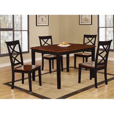 Roundhill Furniture Baum 5 Piece Two Tone Wooden Dining Table Set