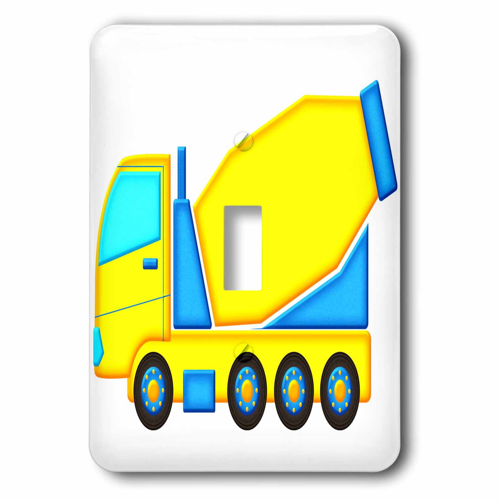 3dRose Cute Boys Blue and Yellow Cement Mixer Truck Graphic, Single Toggle Switch by 3dRose