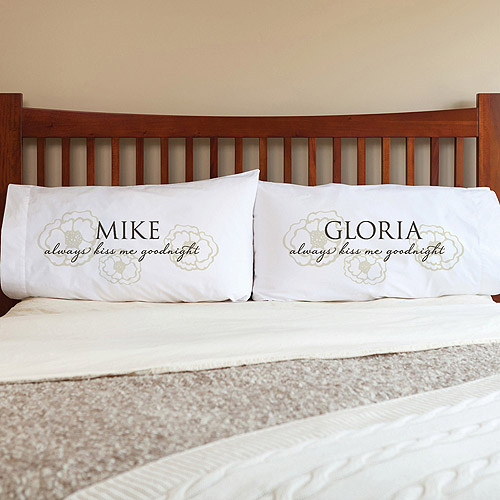 Personalized Always Kiss Me Goodnight Pillowcase Set, Floral