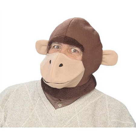 Warm Brown Monkey Hood Hat Prank Animal Mask Costume Accessory Funny Prop Gag