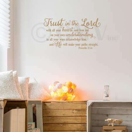 Trust in the Lord Proverbs 3:5-6 vinyl lettering wall decal sticker (16 5