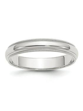 Bridal QWM040-11 4 mm Sterling Silver Half Round Milgrain Band, Size 11