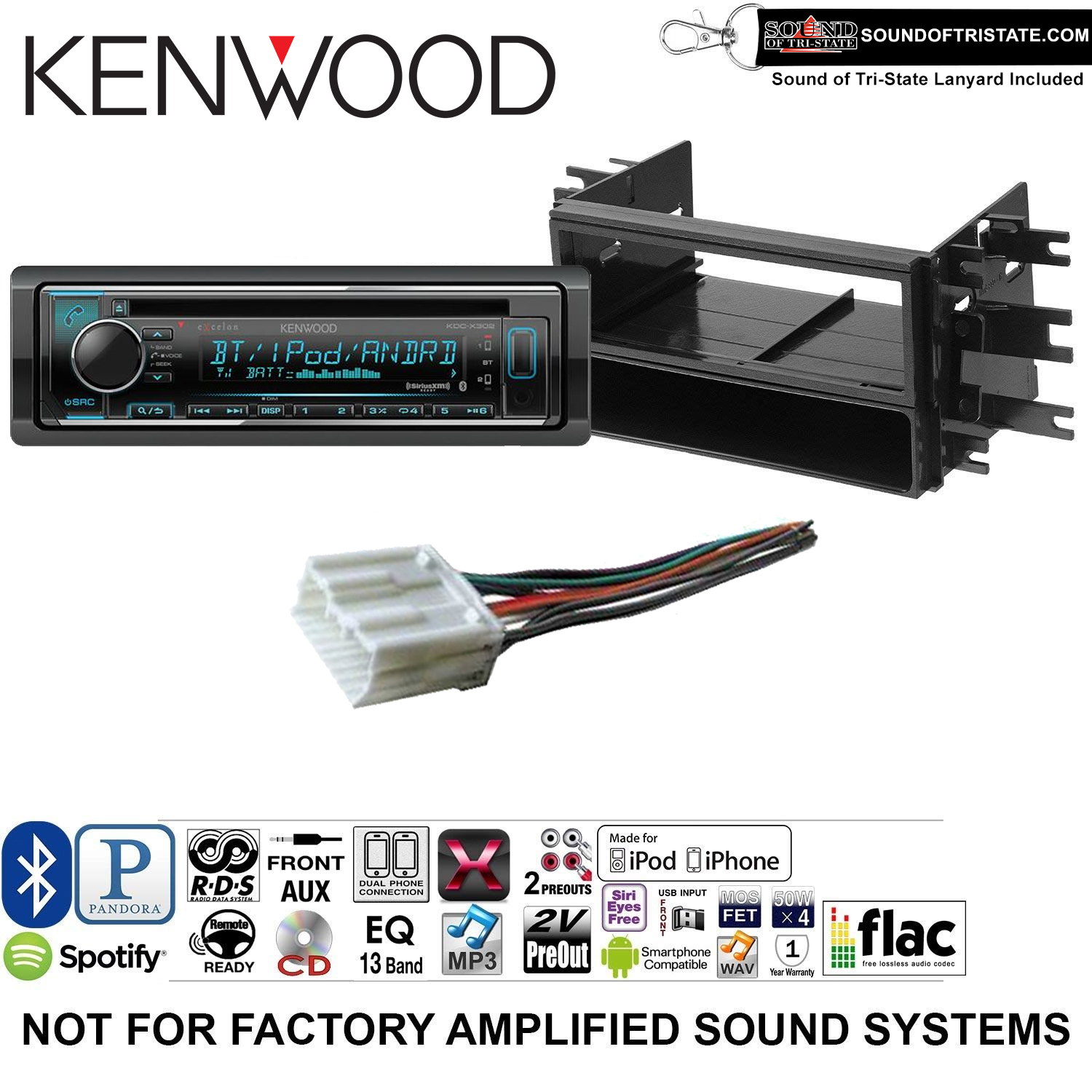 Kenwood KDCX302 Double Din Radio Install Kit with Bluetooth, CD Player, USB/AUX Fits 1995-2005 Mitsubishi Eclipse and a SOTS lanyard included