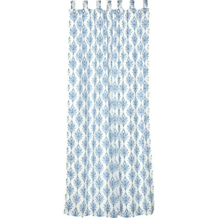 Marshmallow White Coastal Curtains Laguna Tab Top Cotton Tie Back(s) Cambric Floral / Flower 84x50 -