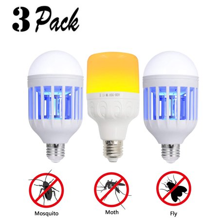 [Set of 3] Bug Zapper Light Bulb & Mosquito Killer LED Lamp 2 in 1 Electronic Insect & Fly Catcher Trap for Indoor Outdoor Home Garden Porch