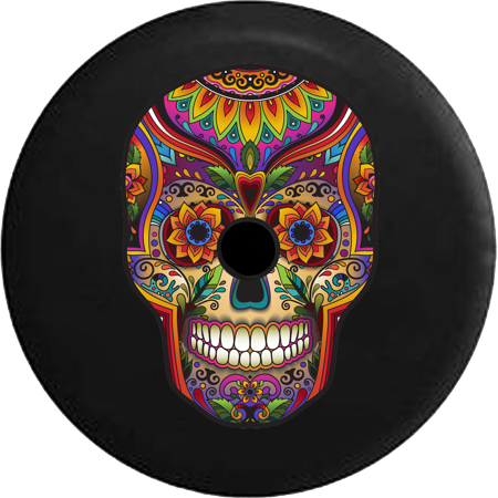 2018 2019 Wrangler JL Backup Camera Sugar Skull Artistic Heritage Halloween Spare Tire Cover for Jeep RV 33 Inch](Rv Halloween)