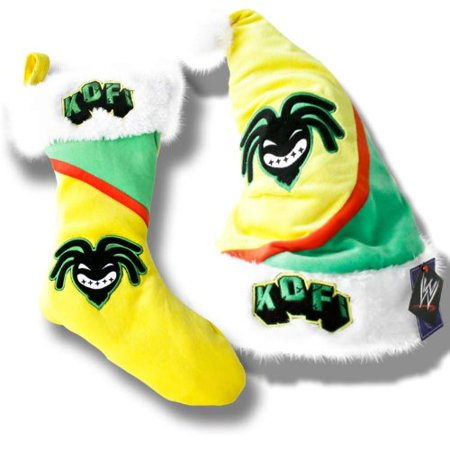WWE Kofi Kingston Santa Hat & Christmas Stocking Special Deal ()