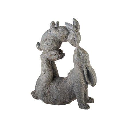 Child Sculpture - Kissing Rabbits Garden Sculpture - Parent Child Bunny Yard Decor