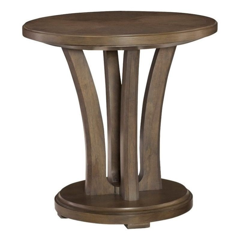 Beaumont Lane Round Wood Lamp Table in Taupe by