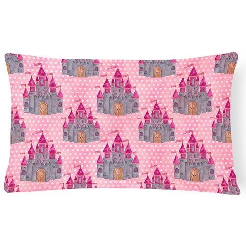 Zoomie Kids Kia Watercolor Princess Castle Indoor/Outdoor Throw Pillow