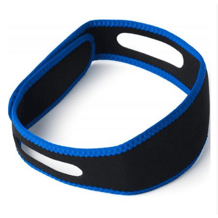 Dejar de roncar Sueño correa de barbilla de Apoyo quijada anti-ronquido Apnea del sueño de la correa (Azul + Negro)