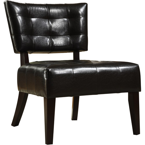 Tufted Accent Chair, Dark Brown Faux Leather
