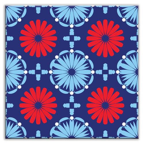Oscar & Izzy Folksy Love 6'' x 6'' Satin Decorative Tile in Kaleidoscope Blue-Red