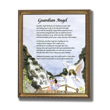 Guardian Angel Picture Frame - African American Black Guardian Angel Chilrden On Bridge Religious Wall Picture Gold Framed Art Print