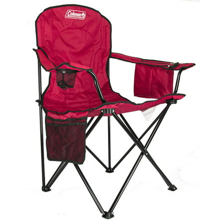 Coleman Oversized Quad Folding Camp Chair with Cooler Pouch, Red