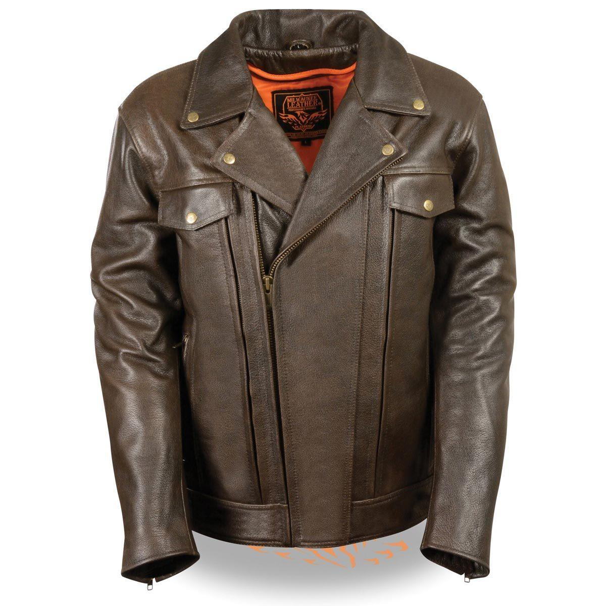 Milwaukee Leather Mens Retro Brown Leather Motorcycle Jac...