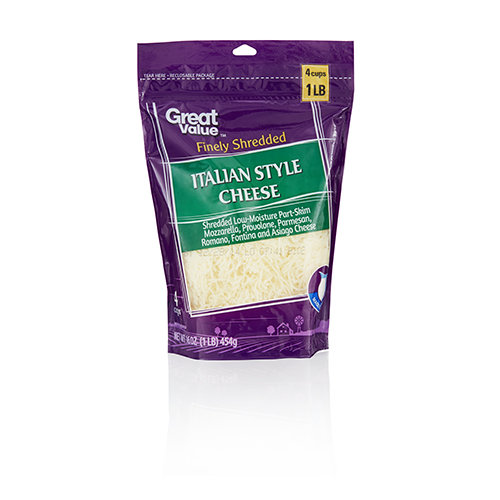 Great Value Italian Style Finely Shredded Cheese, 16 oz