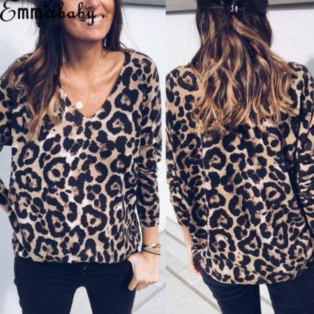 Leopard Print Tops (Hot Fashion Women V Neck Ladies Leopard Print Long Sleeve Loose T Shirt Tops Blouse Hot)