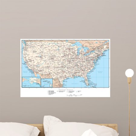 United States Map Wall Mural.United States America Map Wall Mural By Wallmonkeys Peel And Stick