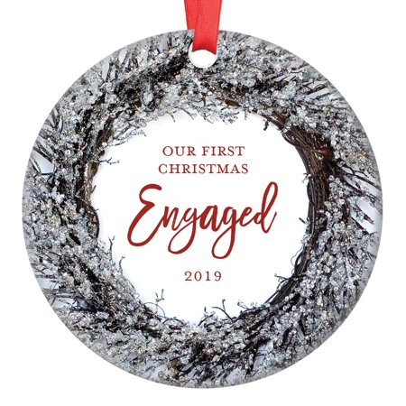 Gifts for Engagement, First Christmas Engaged Ornament 2019 Boyfriend Girlfriend Fiance Fiancee Couple Present 1st Xmas Wreath Ceramic 3