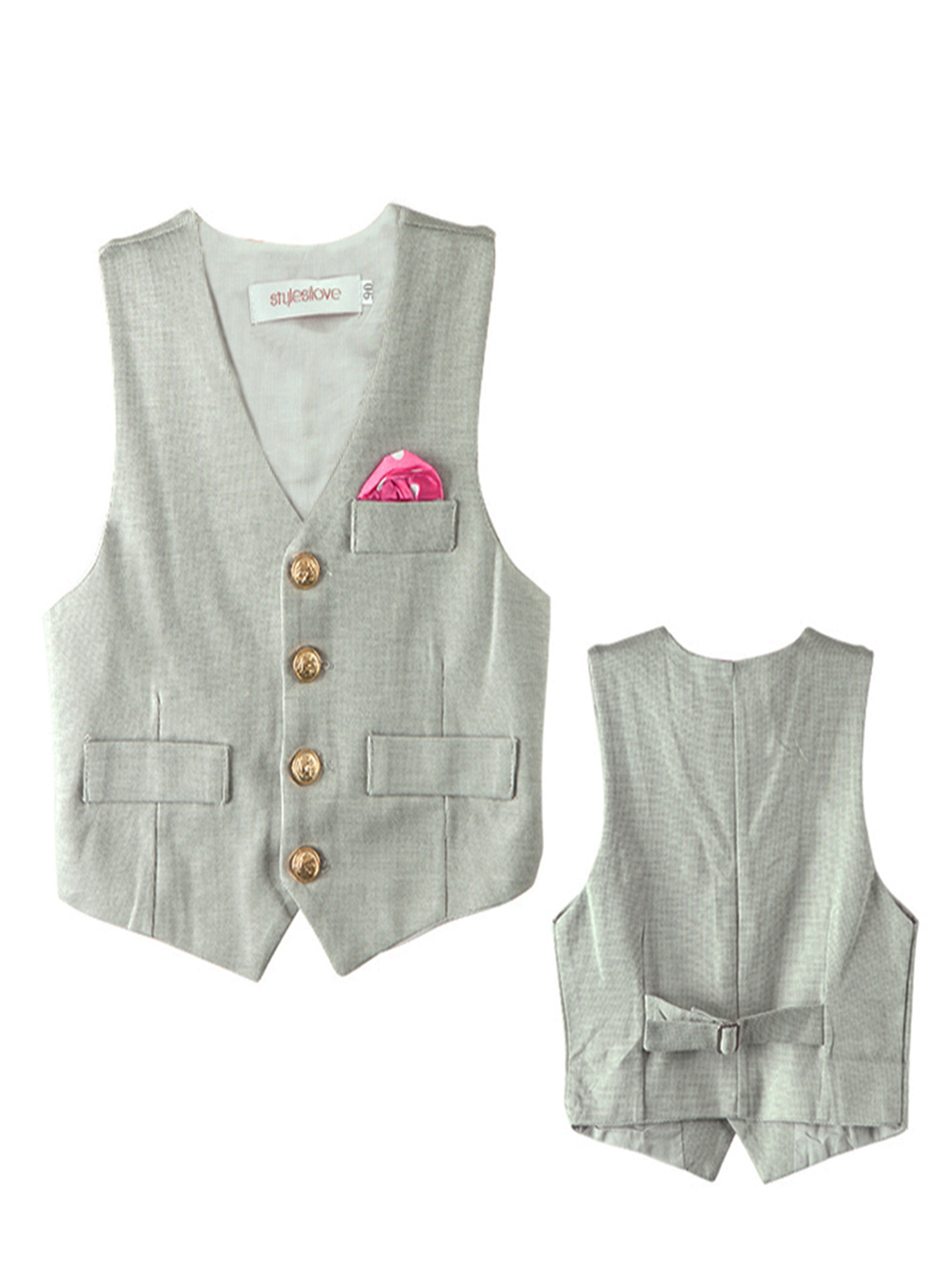 Stylesilove Baby Boy Faux Tie Gold Buttons Tuxedo Vest (4-5 Years, Grey)