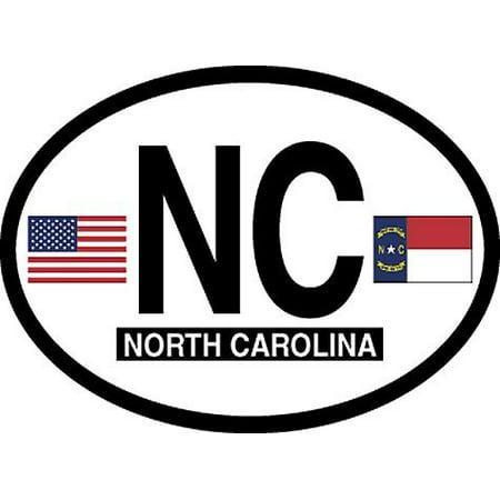 North Carolina Oval Glossly FLAG Decal, Waterproof UV Coated Laminated Reflective Vinyl STICKER, 3.5