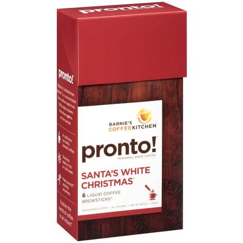 Barnie's CoffeeKitchen Pronto! Santa's White Christmas Liquid Coffee Brewsticks, 6 count, 1.83 oz
