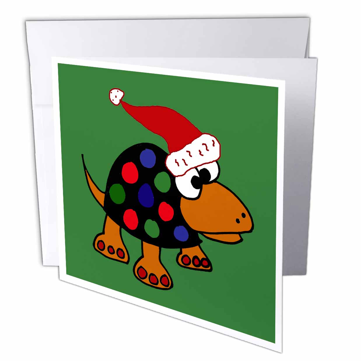 3dRose Funny Colorful Spotted Turtle in Santa Hat Christmas Art, Greeting Cards, 6 x 6 inches, set of 6