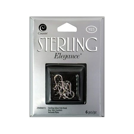 925 Sterling Silver Fish Hook - Cousin Sterling Elegance Fish Hook 6pc