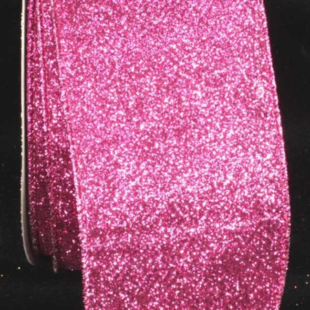 Premium Sparkling Pink Wired Glitter Craft Ribbon 3