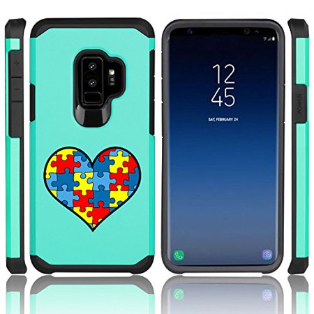 For Samsung Galaxy Shockproof Impact Hard Soft Case Cover Heart Puzzle Autism Color (Teal for Samsung Galaxy S9)](Color For Autism)