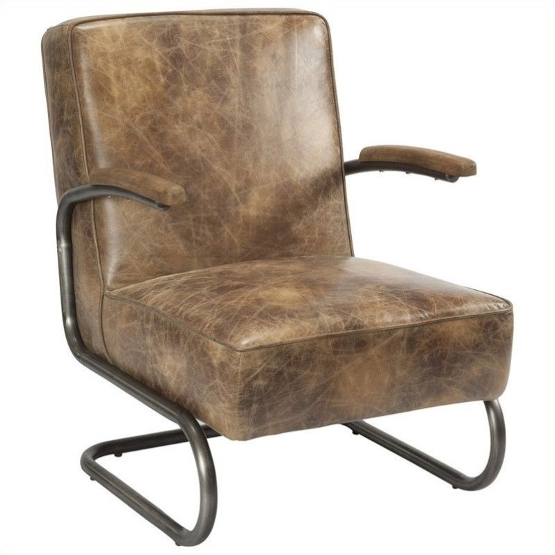 Moe's Perth Leather Arm Chair in Brown