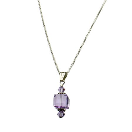 Wallace Sterling Violet (Violet Swarovski Elements Crystal Cube Pendant Sterling Silver Cable Chain Necklace 18