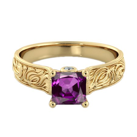 - 2.06 ctw Amethyst Ring with Diamonds 14K Yellow Gold Filigree Cathedral Princess