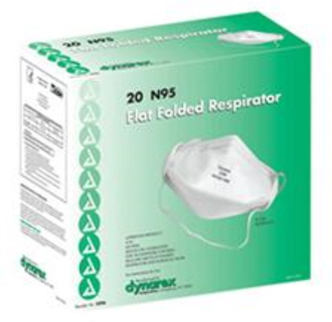 Dynarex Flat Folded Respirator Mask N95  20 ea (Pack of 2)
