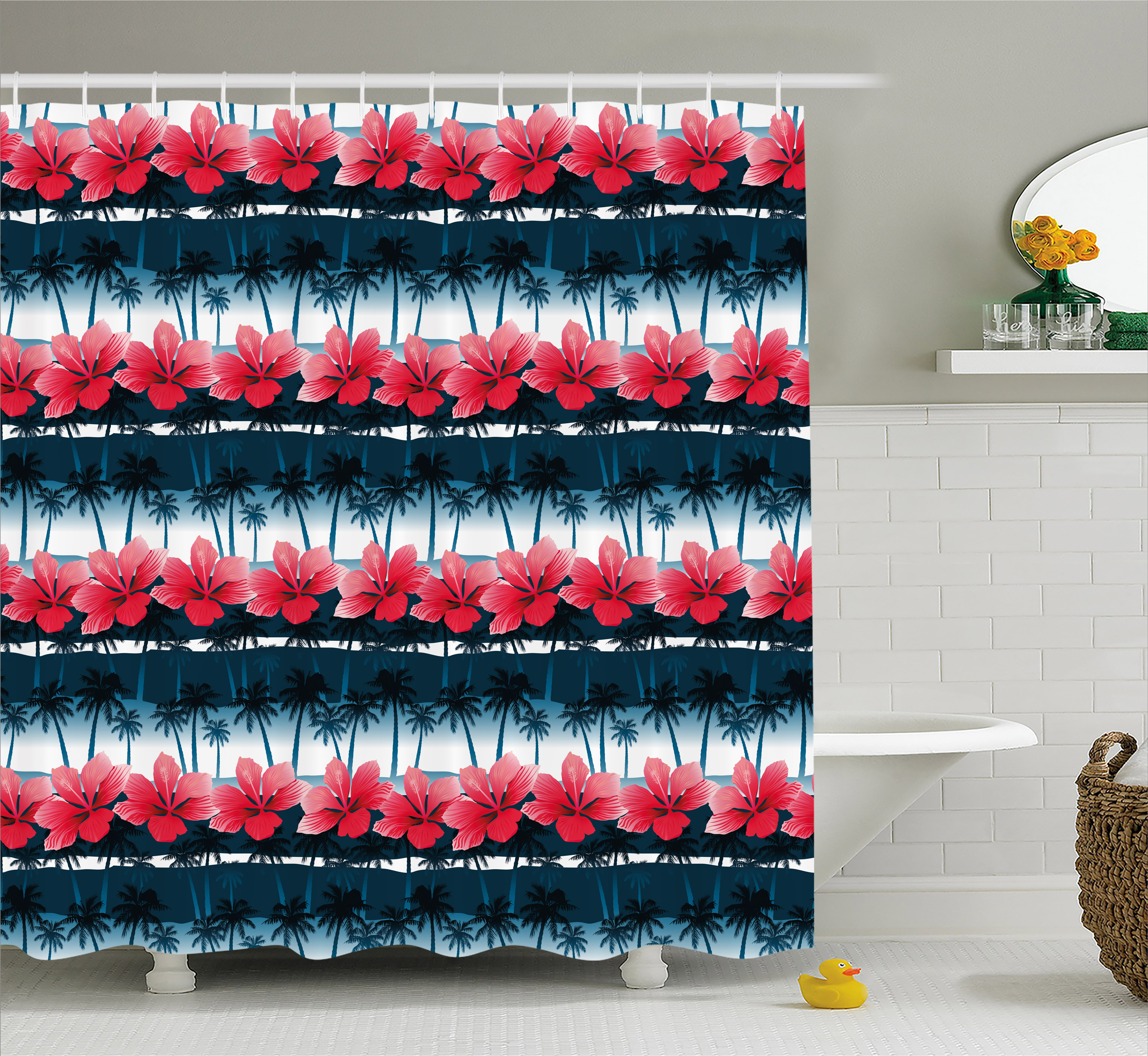 Navy And Blush Shower Curtain Tropical Hibiscus Flowers