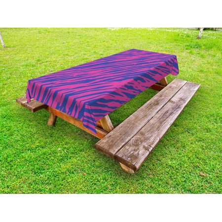 Pink Zebra Outdoor Tablecloth, Retro Design Grunge Abstract Murky Zebra Stripes with Wavy 80s Style, Decorative Washable Fabric Picnic Tablecloth, 58 X 120 Inches, Cobalt Blue Fuchsia, by Ambesonne](80s Tablecloth)