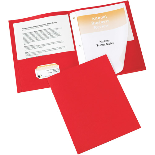 """Avery Paper Two-Pocket Report Cover, Tang Clip, Letter, 1/2"""" Capacity, Red, 25/Box"""