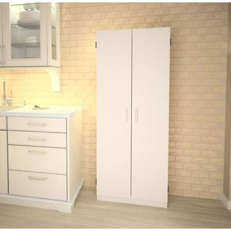 Double Pantry, White - Double Pantry & Microwave Cabinet With Shelves Value Bundle