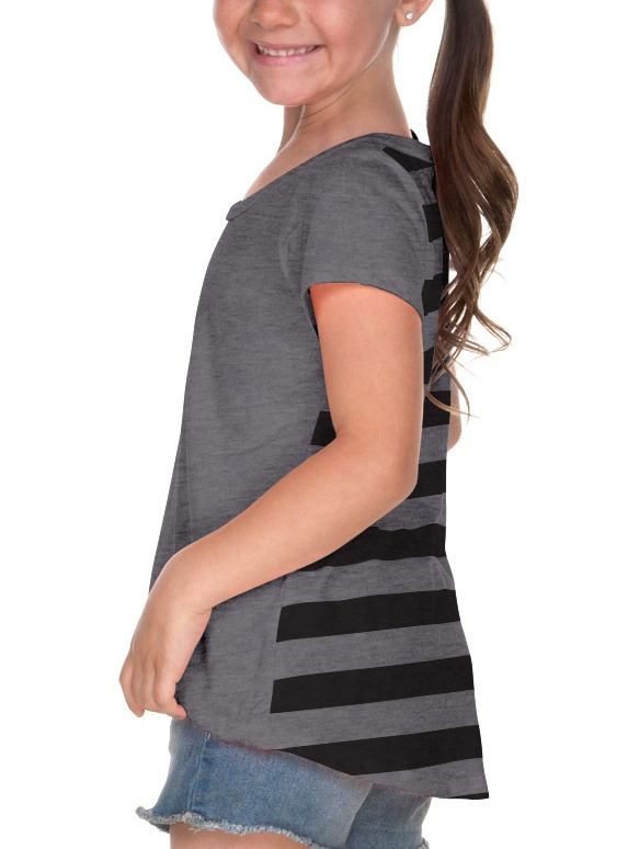 Girls 3-6X Striped Jersey Back Short Sleeve, Style PJP0622