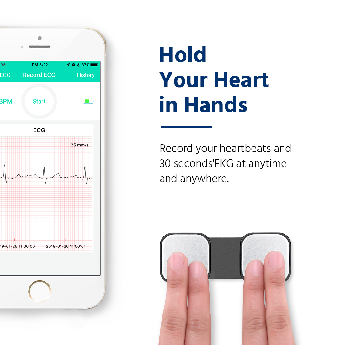 Portable EKG Monitor Handheld ECG Heart Monitor SnapECG Wireless Heart  Performance Tracking Without ECG Electrodes Required Home Use EKG  Monitoring