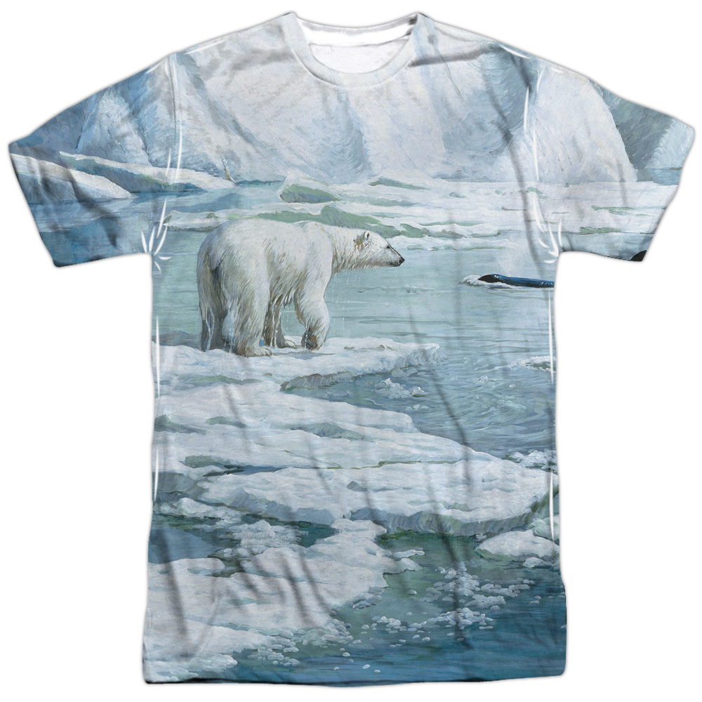 Wild Wings Animals Habitats Whales' Glacier's Edge Adult 2-Sided Print T-Shirt