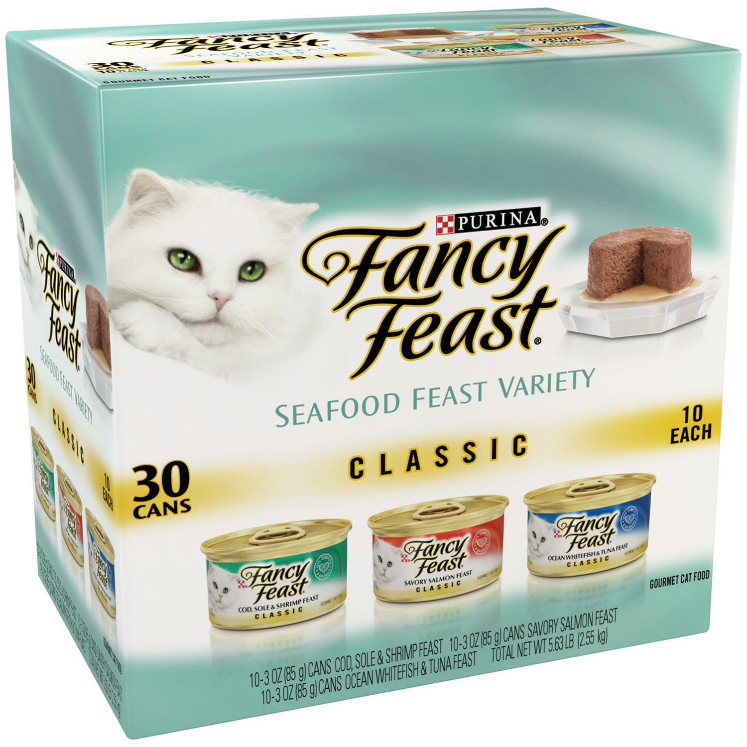 Purina Fancy Feast Classic Paté Seafood Feast Variety Cat Food 30-3 oz. Cans