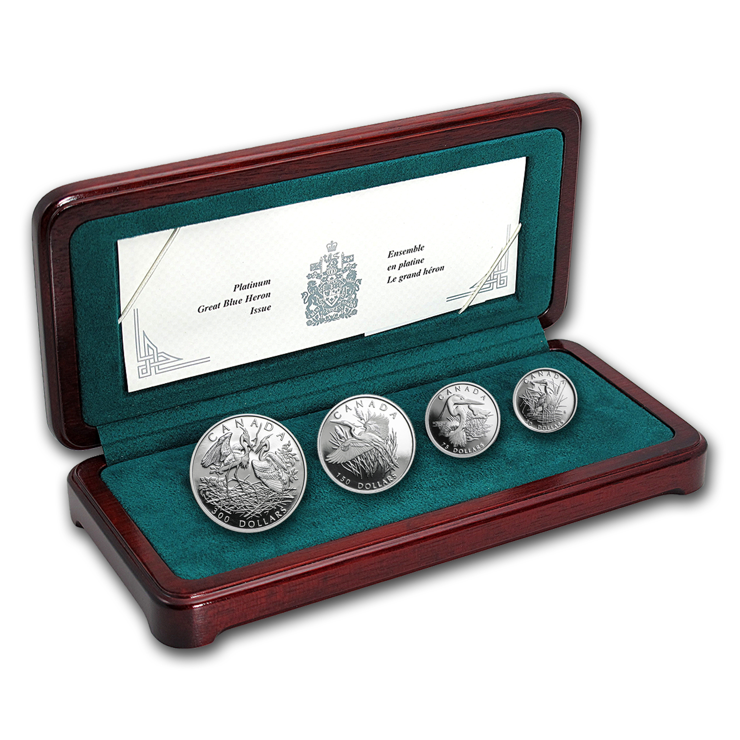 2002 Canada 4-Coin Proof Platinum Set: Great Blue Heron by