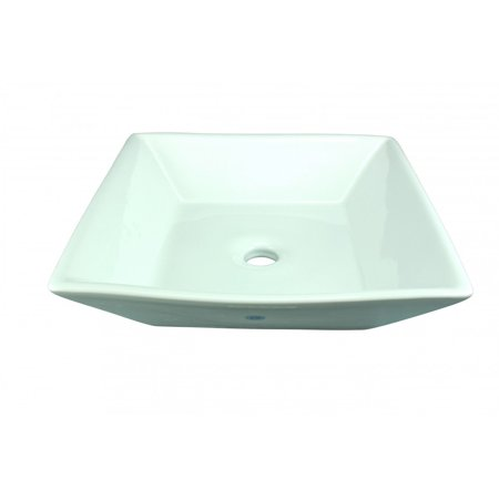 Bathroom Square Above Counter Vessel Sink White Porcelain Art Basin